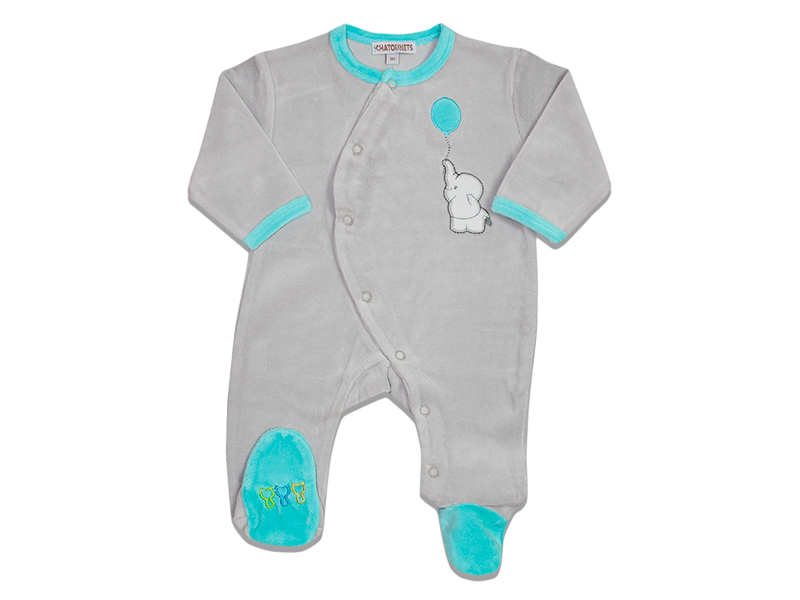 Pyjama dors bien naissance l phant bleu les chatounets - Pyjama elephant ...