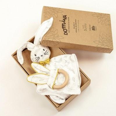BOX DOUDOU + ANNEAU DENTITION LEAFY BUNNY coton bio DOMIVA