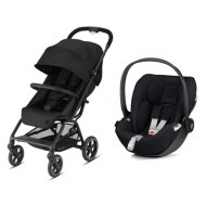 POUSSETTE DUO EEZY S+ 2 BLK DEEP BLACK + CLOUD Z DEEP BLACK version PLUS (tissu plus) CYBEX