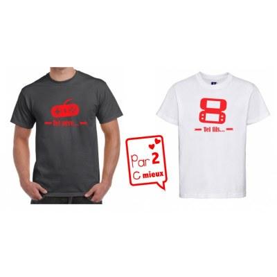 1 T-Shirt Papa & 1 T-Shirt Enfant Tel Père ...Manettes (Garçon / Fille)