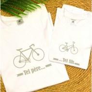 1 T-Shirt Papa & 1 T-Shirt Enfant Tel Père ... Vélo (Garçon / Fille)