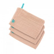 LOT DE 3 GANTS DE TOILETTE GAZE DE COTON ROSE CLAIR LÄSSIG