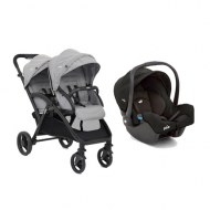 POUSSETTE DOUBLE EVALITE DUO GREY FLANNEL + COSY GEMM JOIE BABY