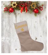Chaussette de Noël 1 étoile en coton et en lin personnalisable
