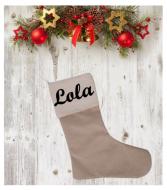 Chaussette de Noël en coton et en lin personnalisable