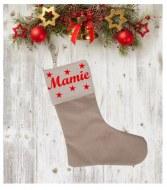 Chaussette de Noël étoiles en coton et en lin personnalisable