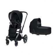 POUSSETTE DUO PRIAM Chrome Black + NACELLE DE LUXE PREMIUM BLACK CYBEX