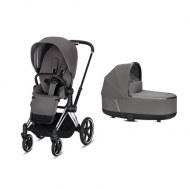 POUSSETTE DUO PRIAM Chrome Black + NACELLE DE LUXE MANHATTAN GREY CYBEX