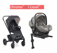 POUSSETTE DUO CHROME Ember + COQUE ALLONGEABLE I-LEVEL Gray flannel (vendue avec sa base) JOIE