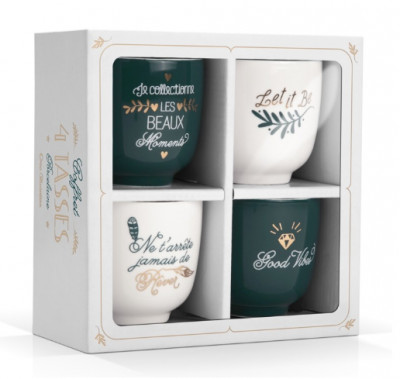 COFFRET 4 TASSES PORCELAINE CREABISONTINE LABEL'TOUR