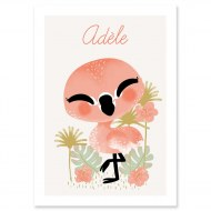AFFICHE PERSONNALISABLE LE FLAMANT ROSE KANZILUE