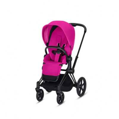 POUSSETTE PRIAM PLATINUM MATT BLACK FANCY PINK CYBEX