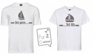 1 T-Shirt Papa & 1 T-Shirt Enfant Tel Père ...Voile (Garçon / Fille)