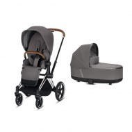 POUSSETTE DUO PRIAM Chrome + NACELLE DE LUXE MANHATTAN GREY CYBEX
