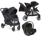 POUSSETTE DOUBLE EVALITE DUO TWO TONE BLACK + COSY GEMM JOIE BABY