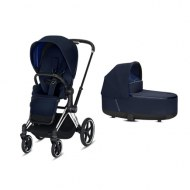 POUSSETTE DUO PRIAM Chrome Black + NACELLE DE LUXE INDIGO BLUE CYBEX