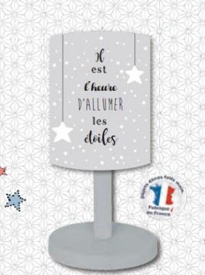 LAMPE DE CHEVET GRISE DES ETOILES PLEIN LES YEUX TITOUTAM