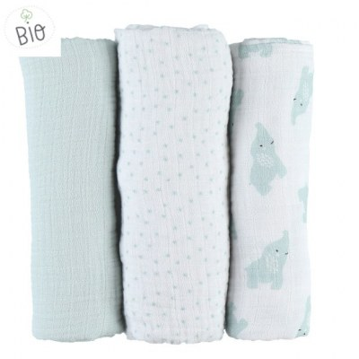 LOT DE 3 LANGES ANNA AQUA 70X70CM - MOUSSELINE BIO MIX & MATCH NOUKIES