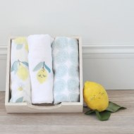 LOT DE 3 LANGES COTON BIO LIMONADE LITTLE CREVETTE
