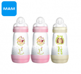 LOT DE 3 BIBERONS 260ml ROSE + BLANC MAM