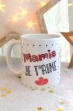 """MUG BLANC """"MAMIE JE T'AIME"""" pardeuxcestmieux"""
