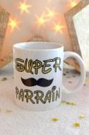 MUG PERSONNALISÉ SUPER PARRAIN moustache