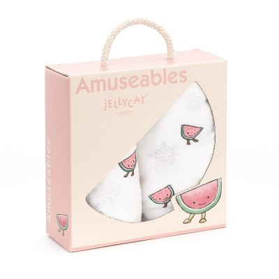 COFFRET CADEAU LOT DE 2 LANGES PASTEQUE AMUSEABLE JELLYCAT