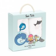 COFFRET CADEAU LOT DE 2 LANGES SEA TAILS JELLYCAT
