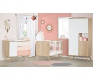CHAMBRE DUO Lit 70x140cm + Commode SEVENTIES ROSE SAUTHON