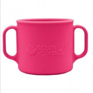 TASSE AVEC ANSES EN SILICONE INCASSABLE ROSE GREEN SPROUTS