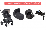 POUSSETTE TRIO CHROME + NACELLE + COQUE I-GEMM (i-size) + BASE GEMM EMBER JOIE