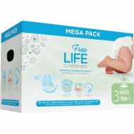 COUCHES MIDI 4-9kg FREE LIFE BEBE CASH (104 couches) T3